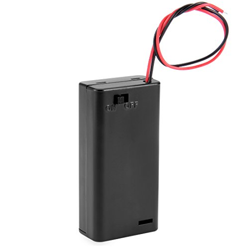 uxcell 3V Battery Holder Case Storage Box 2 x 1.5V AA Batteries Wired ON/OFF Switch w Cover