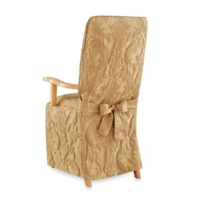 (Sure Fit Matelasse Damask Arm Long Dining Chair Slipcover, Gold)