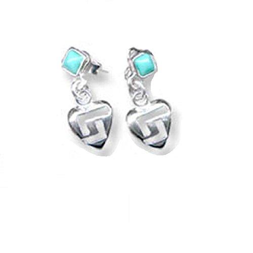 Sterling Silver Greek Key Heart-Shaped Dangle Earrings (Turquoise) Made In Greece