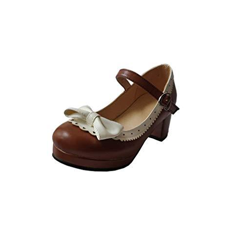 ELFY Women's Cute Lolita Cosplay Shoes Bow Mid Chunky Heel Mary Jane Pumps Coffee 6
