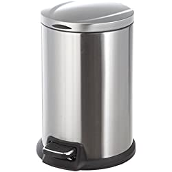 HomeZone Set of 2 12L Stainless Steel Round Pedal Bin's