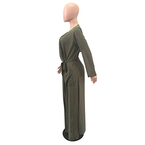 V Cardigan Manches Green Solid Neck de Sheer Longues en Pocket Outwear Maxi Manteau L Soie Mousseline Tie Size Color rfgrqCwxH