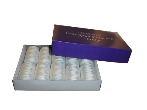 Sewing Thread   Box Of 10 X 1000 Yard Spools   Spun Polyester   120S   Vanguard Brand   Variety Of Colours Available  Natural White
