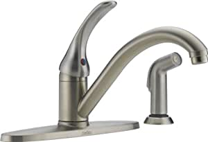 Delta  Ss Dst L Classic Single Handle Kitchen Faucet With Spray Stainless