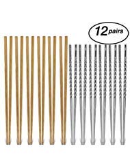 - Chopsticks Reusable - 6x Stainless Steel Metal PLUS 6x Bamboo Wooden Chopstick Set - by Judo Chop - Premium Quality Chop Sticks - Dishwasher Safe for Korean Japanese Chinese and Asian Food