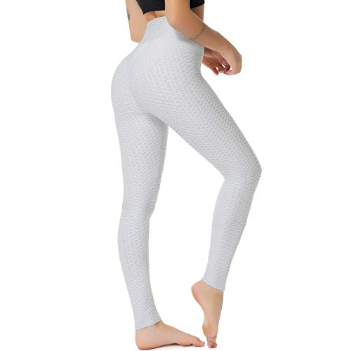 Price comparison product image YOFIT Women Ruched Butt Yoga Pants Lifting Leggings High Waisted with Pockets Sport Tummy Control Gym Grey M