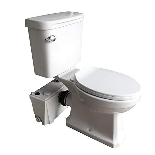 Sanimove 400W Macerator Pump Toilet Three Piece Round Bowl Toilet with Macerating Pump Macerating Upflush Toilet Kit Macerating ()