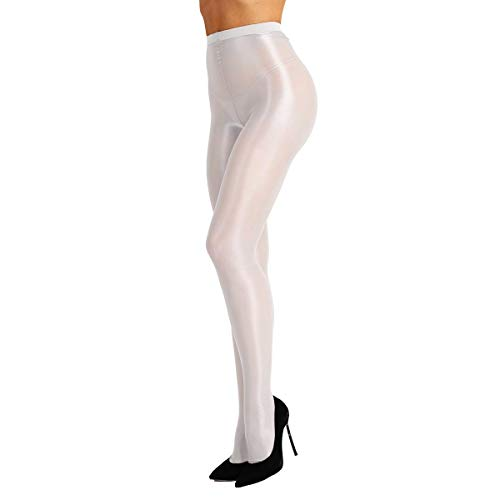 (Agoky Women's Sheer Footed Tight Pantyhose High Waist Shimmery Silk Stocking White One Size)