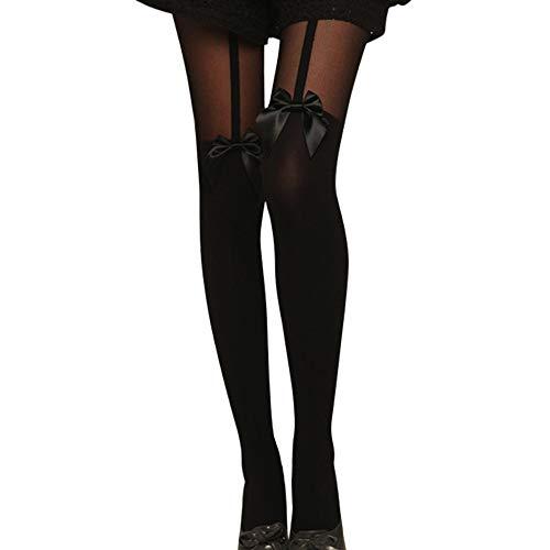 Pausseo Vintage Tights Bow Pantyhose Tattoo Mock Bow Suspender Sheer Stockings Leggings Comfortable Sweat Deodorant Lady Anti-Slip Bed Sleep Skateboard Floor Sports Stocking Girls Sock