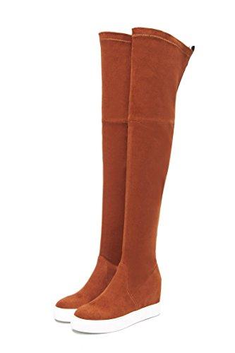 fondo QIN elastico lunghi Donna Brown Chunky spesso amp;X aumento scarpe interno stivali tallone ra4xnrwq