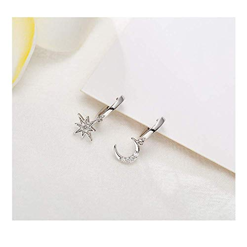 CZ Moon Star Dangle Small Hoop Earrings for Women Girls Sterling Silver Charms Crystal Asymmetrical Snowflake Crescent Drop Mini Cartilage Clip Jewelry Delicate Fashion Birthday Gifts