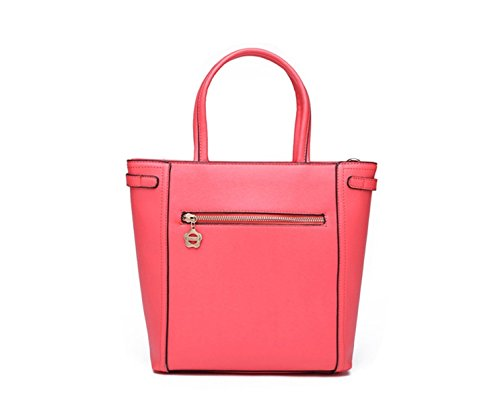 Peach Handbag Large Yiji Zippers Capacity Double Women's Front YwzYxZ0q7F