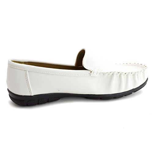 Leather Slip Womens Shoes White Thick Footbed On Adults Faux Kali Comfort YPpxHxq