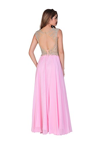 Amazon.com: Chic Belle Long Prom Dresses for Women Evening Gowns Pink Chiffon Beaded 2017: Clothing