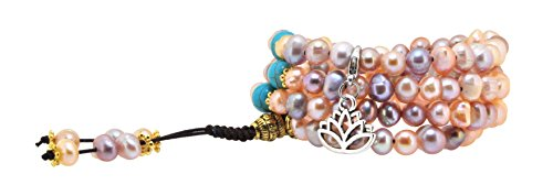 Pink and Purple Dyed Freshwater Cultured Pearls Yoga Meditation 108 Prayer Beads Mala Wrap Bracelet or Necklace (Lotus Flower)