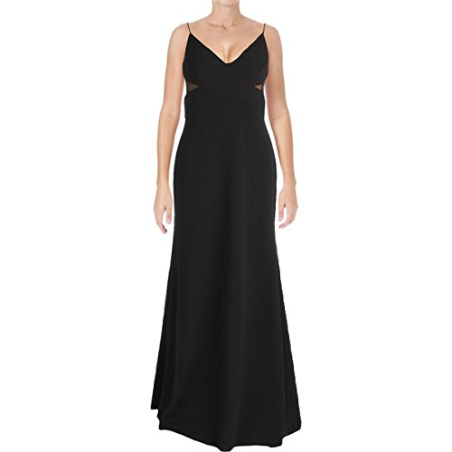 (Vera Wang Women's Scuba Crepe Gown with Mesh, Black, 8)
