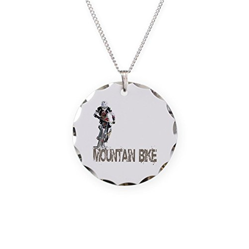 CafePress - Mountain Bike Left - Charm Necklace with Round Pendant