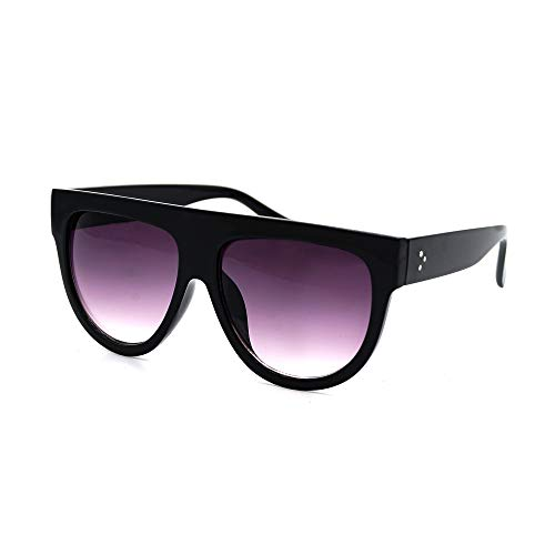 Women's Fashion Flat Top Super Future Retro Vintage Sunglasses P4156 (Black Gradient ()