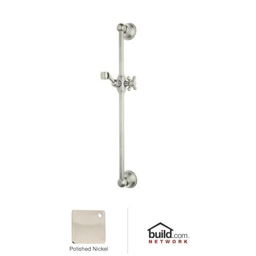 Rohl 1201PN All Brass Sliding Rail with Metal Cap On Sliding Mechanism and Cross Handle, Polished Nickel