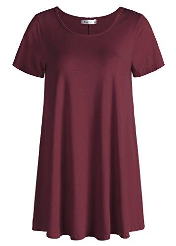 Esenchel Women's Tunic Top Casual T Shirt for Leggings 3X Wine Red
