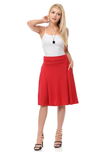 iconic luxe Women's Jersey Full A-Line Midi Skirt with Pockets