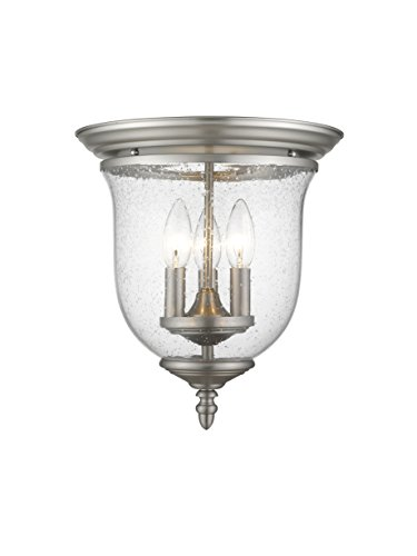 Livex Lighting 5024-91 Legacy 3-Light Ceiling Mount, Brushed Nickel