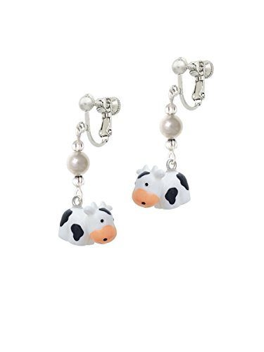 Resin Black and White Cow Imitation Pearl Czech Glass Bead Dangle Clip On Earrings