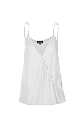 Womens Flowy Chiffon Layered Cami Front Pleat Chiffon Anti-Static Camisole Tank (Chiffon Satin Camisole)