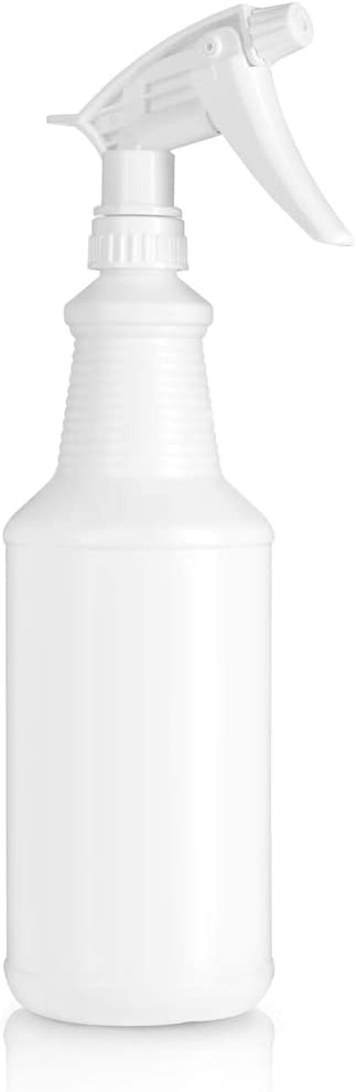 BAR5F Plastic Spray Bottles 32 Ounce, Professional Chemical Resistant with White Sprayer for Chemical and Cleaning Solution, Heavy Duty, Adjustable Head Sprayer from Fine to Stream (Pack of 1)