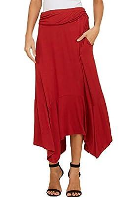 Annabelle Women's Fold Over Waistband Ruffle Hem Skirts Pockets