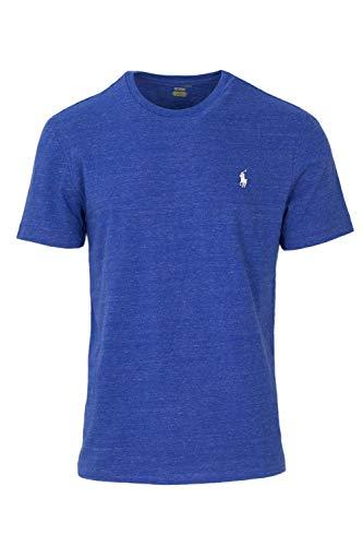Ralph Lauren Polo Mens Crewneck T-Shirt (Medium, Blue Heather/White Pony)