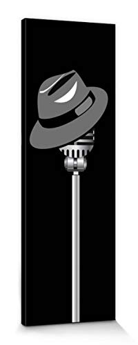 1art1 Music Stretched Canvas Print - Fedora Hat and Microphone (59 x 20 inches)