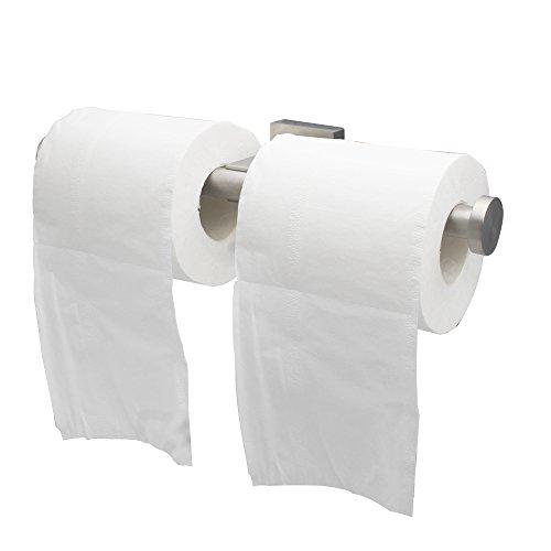XVL Toilet Paper Holder Tissue Holder Wall Mount Dual Tissue Holder Brushed G320B ()