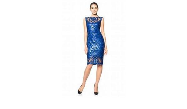 61ad6ec81849 Tadashi Shoji Paillette Embroidered Lace Sheath Dress Mystic Blue 10 New at  Amazon Women's Clothing store: