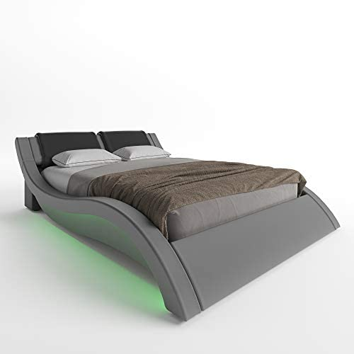 Milan Wave-Like Contemporary Modern Upholstered Platform Bed LED Light