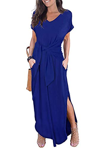 (CANIKAT Women's Summer Casual Loose Pocket Tie Waist Short Sleeve Basic Side Split Long Maxi Dresses for Ladies Blue S)