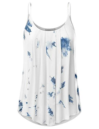 CLOVERY Women's Sleeveless Pleated Chiffon Layered Cami Tank Top Blouse with Plus Size Whiteblue XL