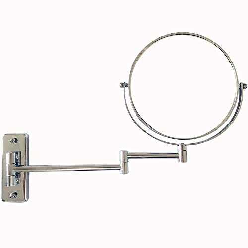 (Lansi Makeup Mirror 10X Magnifying Wall Mount Double-Sided Vanity Decoration, Round, 8 Inch, Chrome Finished)