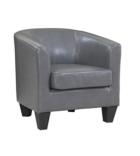 Grafton 1572-01-L09 Leather Barrel Chair, One Size, Grey