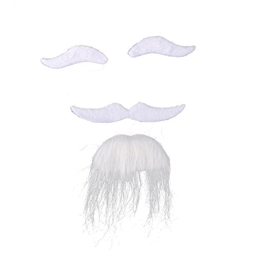 Fake Beard Kit (Tinksky Three-piece Halloween Costumes Self Adhesive Fake Eyebrows Beard Moustache Goatee Kit Facial Hair Cosplay Props Disguise Decoration For Masquerade Costume Party (White))