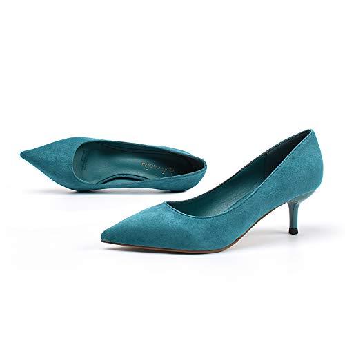 De Stone Estilete Zapatos de Yukun Mid Heel Alto De Zapatos Ritual Tacón tacón Trabajo Tacón Otoño alto Blue Mujer De Aguja Adulto Salvaje Stone De zapatos Cyan Zapatos Tacón Bajo 36 pnpBxrTw
