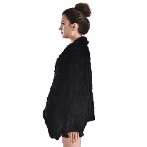 en femmes tricot en fourrure fourrure Noir Pocket d'hiver Veste lapin en Outwear Manteau With de pour qzw8vxX