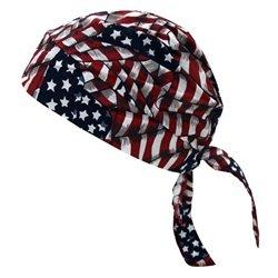 its All Wavy Flag Tuff Nougies Deluxe Tie Hat (Doo Rag) With Elastic Rear Band (Tuff Nougies Doo Rag)