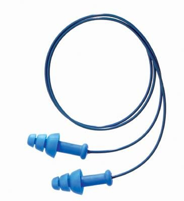 Howard Leight(R) Multiple Use SmartFit(R) 3-Flange Blue CMT (Conforming Material Technology) Detectable Corded Earplugs With Detachable Poly Cord (1 Pair Per Polybag, 100 Pair Per Box)