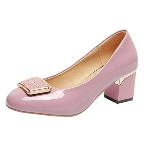 Women Round Toe Shoes Shallow Square Heels Slip-On Casual Jobs Single Shoes,Outsta 2019 Deals! Fashion Shoes Purple