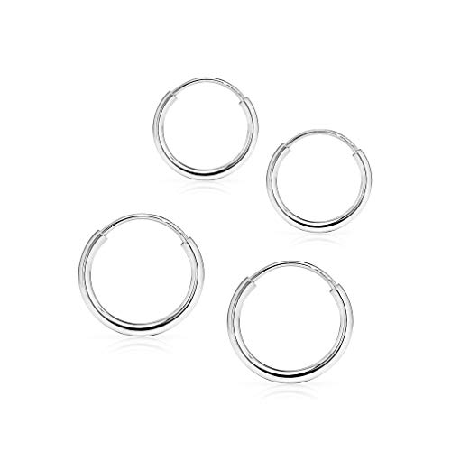 - SOLIDGOLD - 14K Endless White Gold 10mm 12mm Infinity Hoop Sleeper Earrings 2 Pair Set