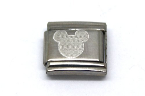 RARE ABSTRACT WALT DISNEY COLLECTION MICKEY MOUSE ICON STAINLESS STEEL 9MM ITALIAN CHARM BRACELET LINK - Mouse Italian Charm Bracelet