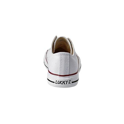 Unisex 36 Weiß Sportschuhe Textil Damen für Herren und Bequeme Sneaker Low Schuhe Elara Turnschuh 46 Top dqwR4ZOd