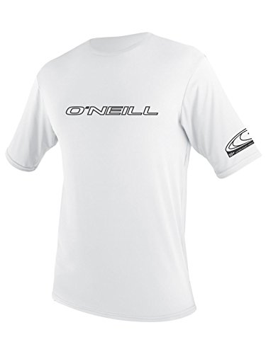 O'Neill UV 50+ Sun Protection Mens Basic Skins Short Sleeve Tee Sun Shirt Rash Guard, White, X-Large