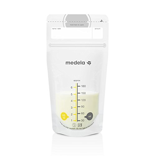 Medela, Breast Milk Storage Bags, Ready to Use, Milk Storage Bags for Breastfeeding, Self-Standing Bag, Space-Saving Flat Profile, Hygienically Pre-Sealed, 6 oz. Capacity, 100 - Milk Baby Bags Storage